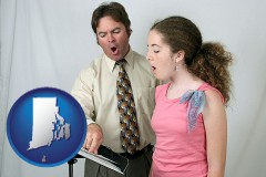 rhode-island map icon and a singing lesson, aka a voice lesson